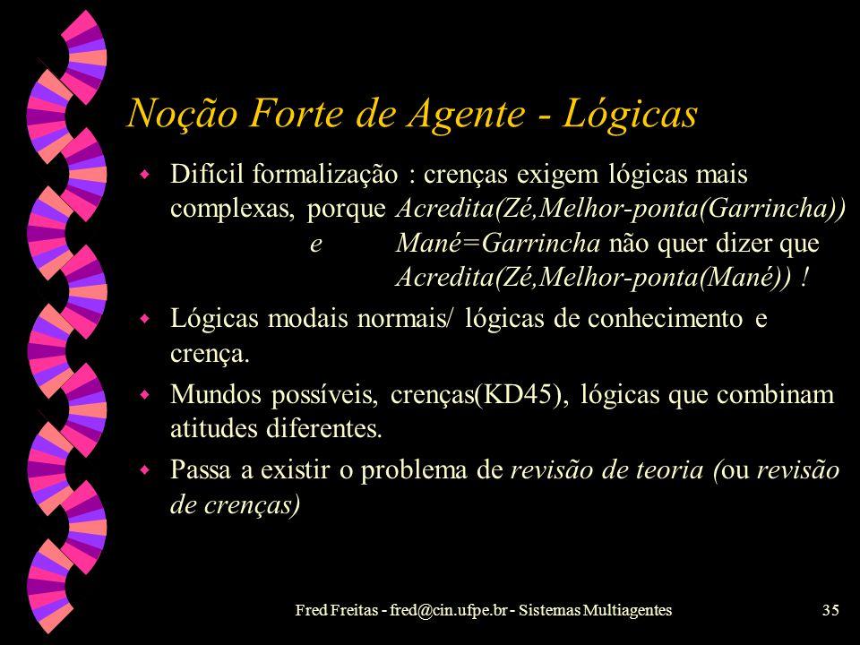 Fred Freitas - fred@cin.ufpe.br - Sistemas Multiagentes34 Noção Forte de Agente w Noções mentalísticas : postura intencional, não- mecanicista e útil,