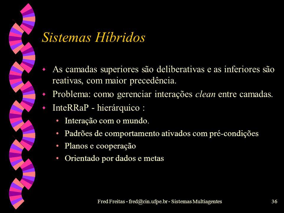 Fred Freitas - fred@cin.ufpe.br - Sistemas Multiagentes35 Noção Forte de Agente - Lógicas w Difícil formalização : crenças exigem lógicas mais complex