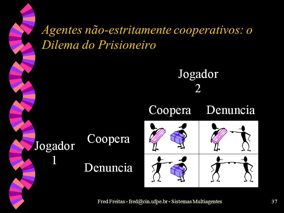 Fred Freitas - fred@cin.ufpe.br - Sistemas Multiagentes36 Sistemas Híbridos w As camadas superiores são deliberativas e as inferiores são reativas, co