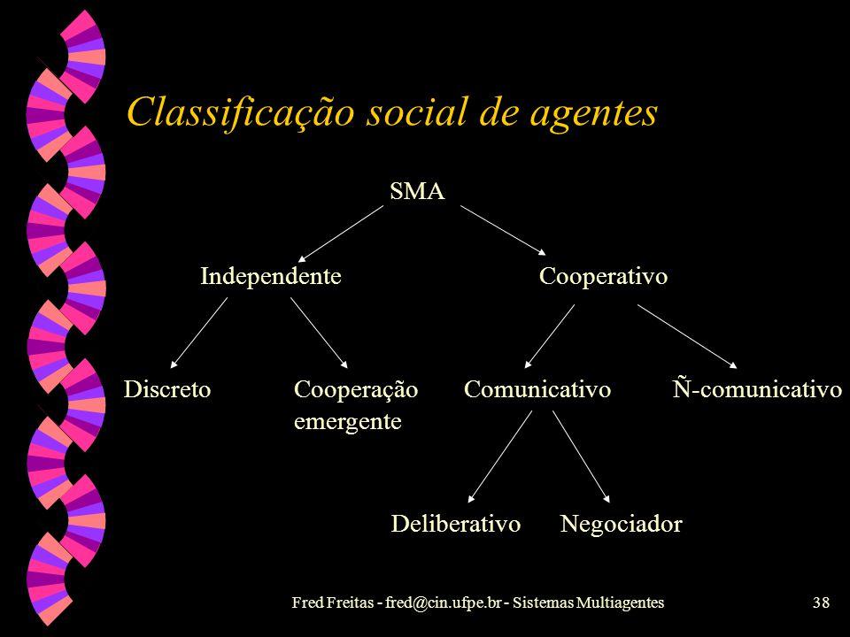 Fred Freitas - fred@cin.ufpe.br - Sistemas Multiagentes37 Agentes não-estritamente cooperativos: o Dilema do Prisioneiro