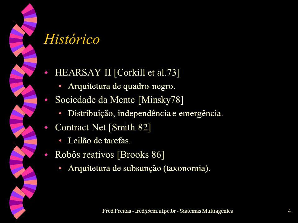 Fred Freitas - fred@cin.ufpe.br - Sistemas Multiagentes4 Histórico w HEARSAY II [Corkill et al.73] Arquitetura de quadro-negro.