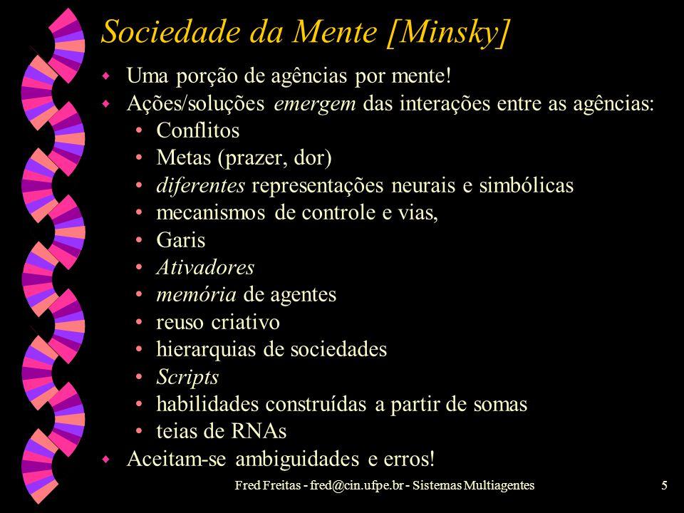 Fred Freitas - fred@cin.ufpe.br - Sistemas Multiagentes5 Sociedade da Mente [Minsky] w Uma porção de agências por mente.