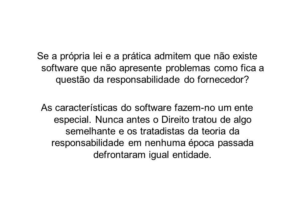Se a própria lei e a prática admitem que não existe software que não apresente problemas como fica a questão da responsabilidade do fornecedor.