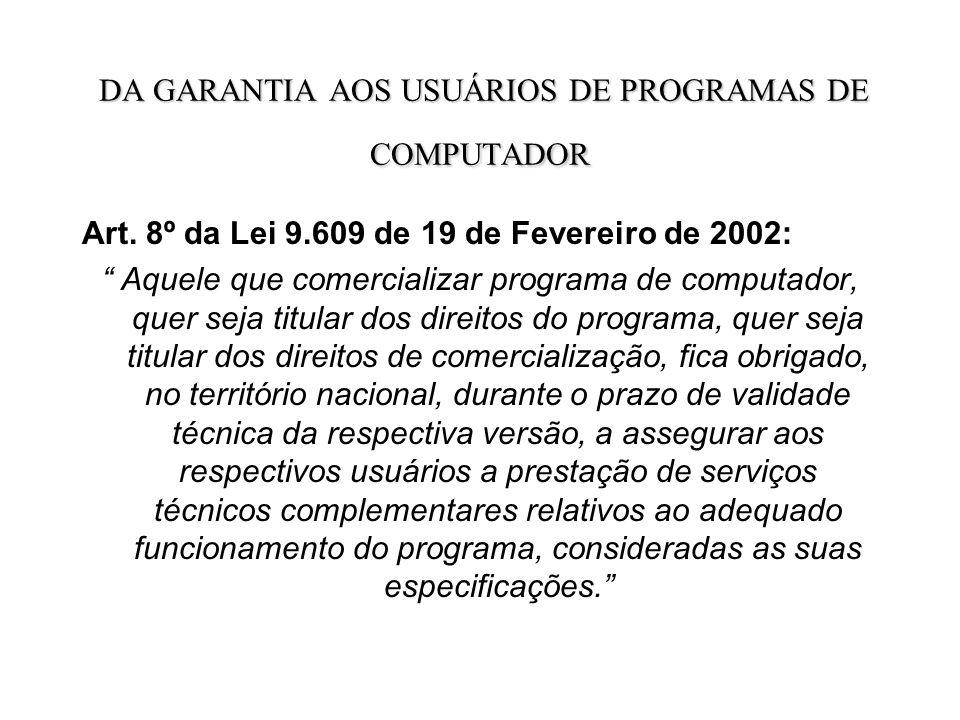DA GARANTIA AOS USUÁRIOS DE PROGRAMAS DE COMPUTADOR DA GARANTIA AOS USUÁRIOS DE PROGRAMAS DE COMPUTADOR Art.