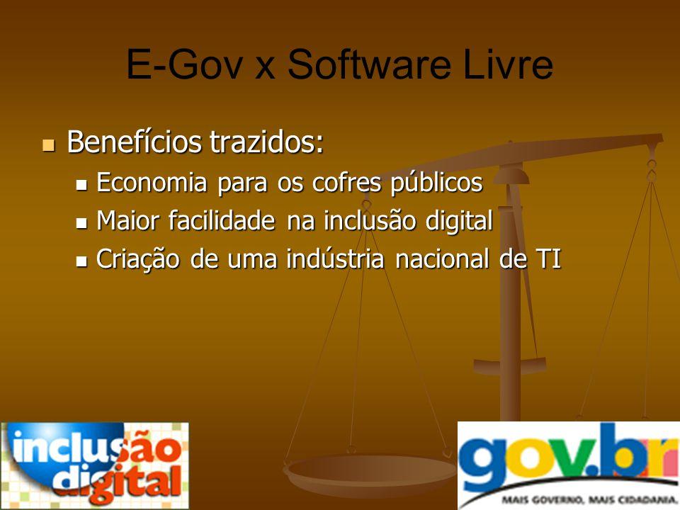 E-Gov x Software Livre Benefícios trazidos: Benefícios trazidos: Economia para os cofres públicos Economia para os cofres públicos Maior facilidade na