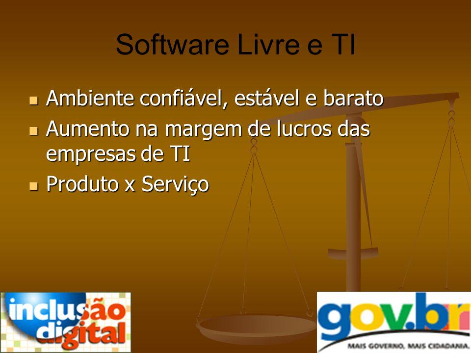 Software Livre e TI Ambiente confiável, estável e barato Ambiente confiável, estável e barato Aumento na margem de lucros das empresas de TI Aumento n