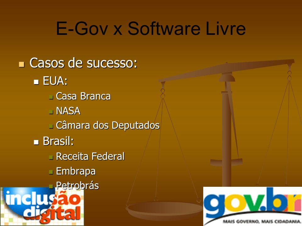 E-Gov x Software Livre Casos de sucesso: Casos de sucesso: EUA: EUA: Casa Branca Casa Branca NASA NASA Câmara dos Deputados Câmara dos Deputados Brasi