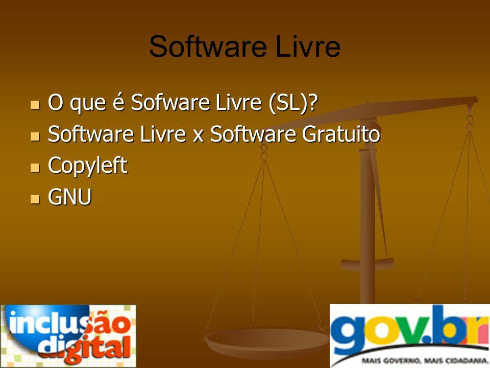 Software Livre O que é Sofware Livre (SL)? O que é Sofware Livre (SL)? Software Livre x Software Gratuito Software Livre x Software Gratuito Copyleft