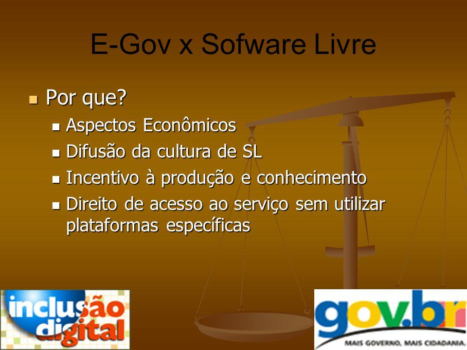 E-Gov x Sofware Livre Por que? Por que? Aspectos Econômicos Aspectos Econômicos Difusão da cultura de SL Difusão da cultura de SL Incentivo à produção