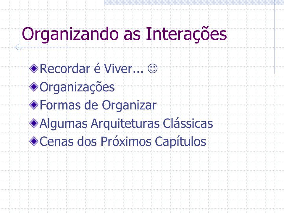 Organizando as Interações Recordar é Viver... Organizações Formas de Organizar Algumas Arquiteturas Clássicas Cenas dos Próximos Capítulos