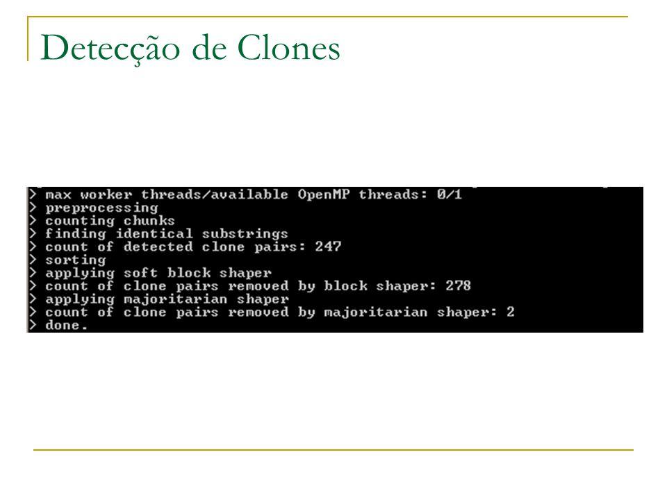 41 Pares de clones Persistence  16 pares de clones detectados  Não são realmente clones e sim consultas SQL complexas de várias linhas Business  17 pares de clones detectados  A maioria é validação de dados que pode ser melhor modularizado