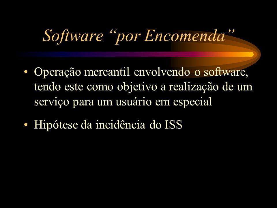 """Software """"por Encomenda"""" Operação mercantil envolvendo o software, tendo este como objetivo a realização de um serviço para um usuário em especial Hip"""