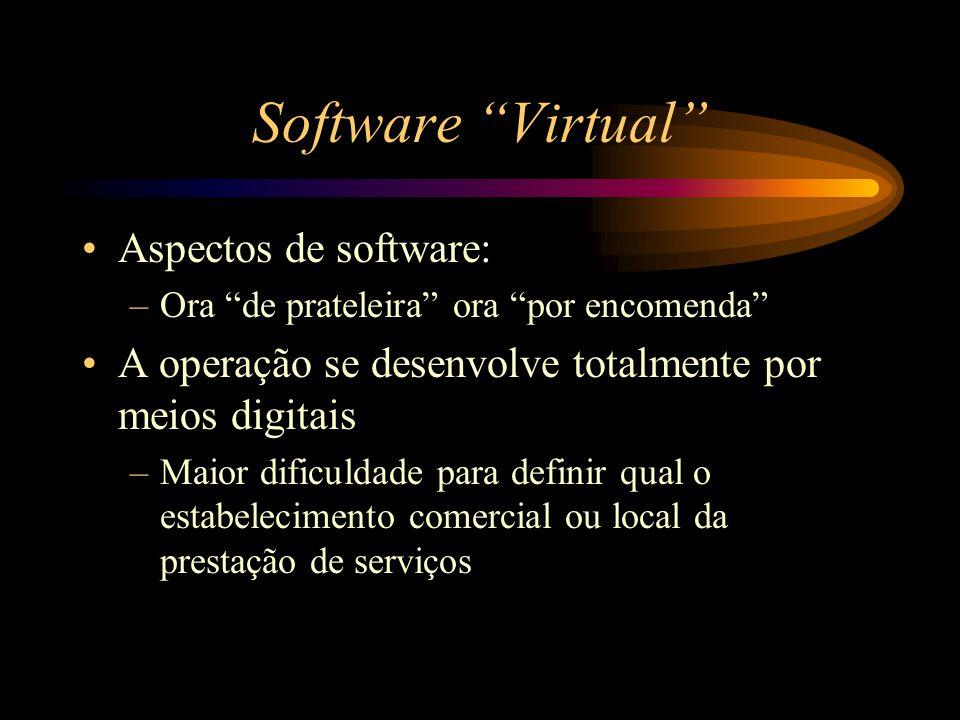 """Software """"Virtual"""" Aspectos de software: –Ora """"de prateleira"""" ora """"por encomenda"""" A operação se desenvolve totalmente por meios digitais –Maior dificu"""