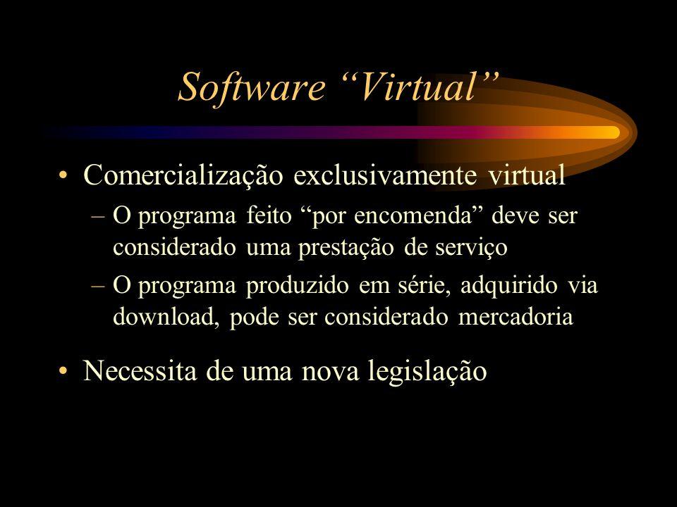 """Software """"Virtual"""" Comercialização exclusivamente virtual –O programa feito """"por encomenda"""" deve ser considerado uma prestação de serviço –O programa"""