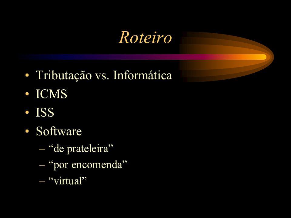"""Roteiro Tributação vs. Informática ICMS ISS Software –""""de prateleira"""" –""""por encomenda"""" –""""virtual"""""""