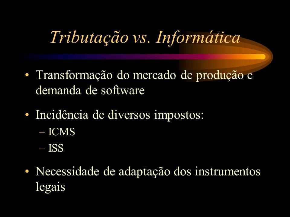 Tributação vs. Informática Transformação do mercado de produção e demanda de software Incidência de diversos impostos: –ICMS –ISS Necessidade de adapt