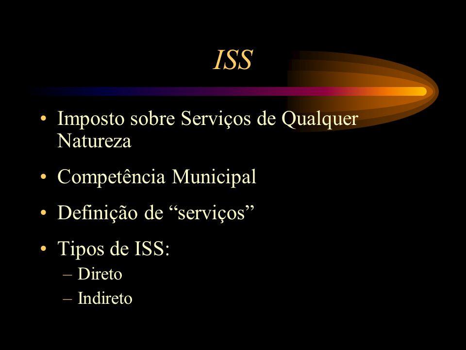 """ISS Imposto sobre Serviços de Qualquer Natureza Competência Municipal Definição de """"serviços"""" Tipos de ISS: –Direto –Indireto"""