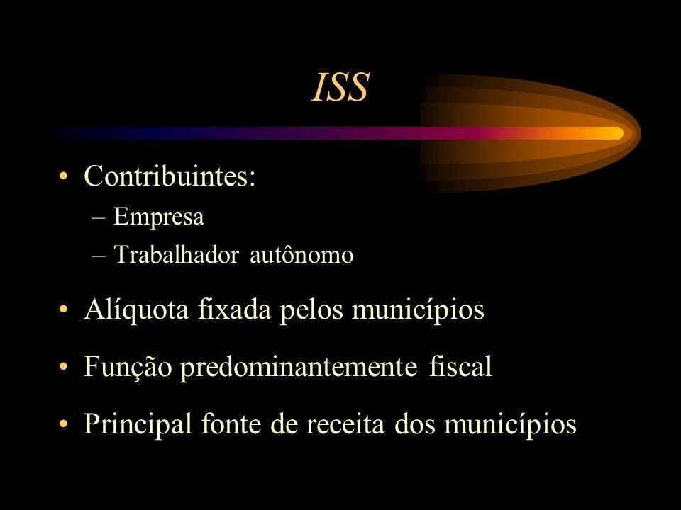 ISS Contribuintes: –Empresa –Trabalhador autônomo Alíquota fixada pelos municípios Função predominantemente fiscal Principal fonte de receita dos muni