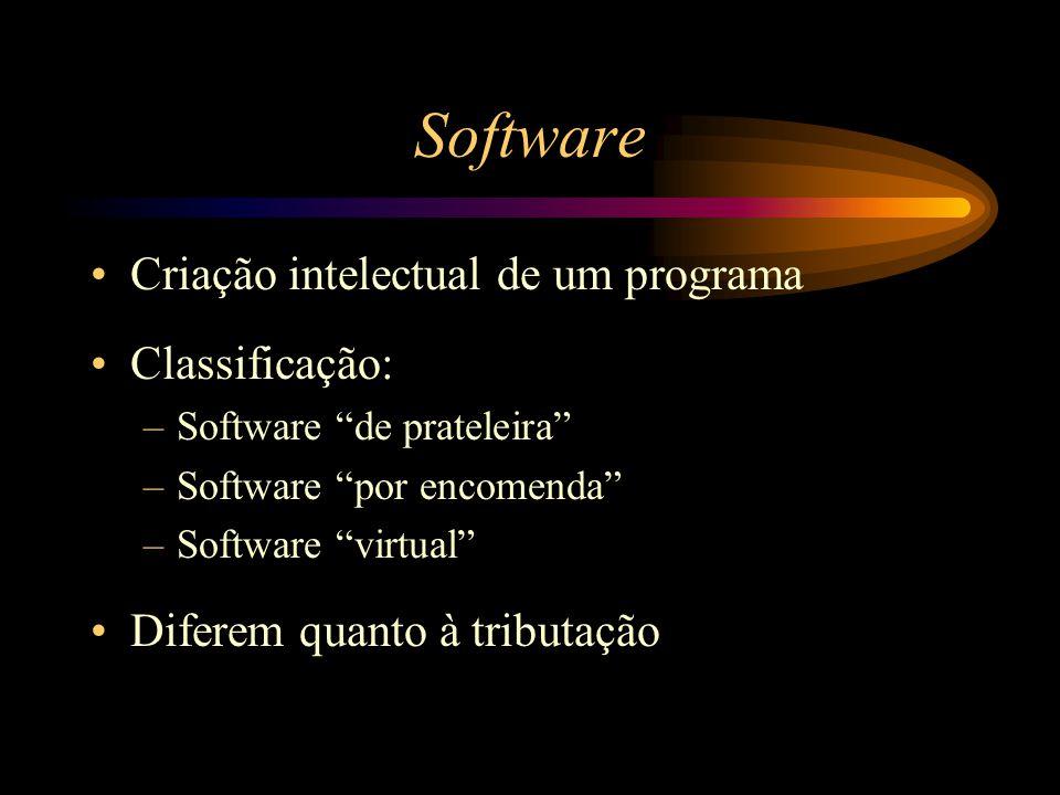 """Software Criação intelectual de um programa Classificação: –Software """"de prateleira"""" –Software """"por encomenda"""" –Software """"virtual"""" Diferem quanto à tr"""