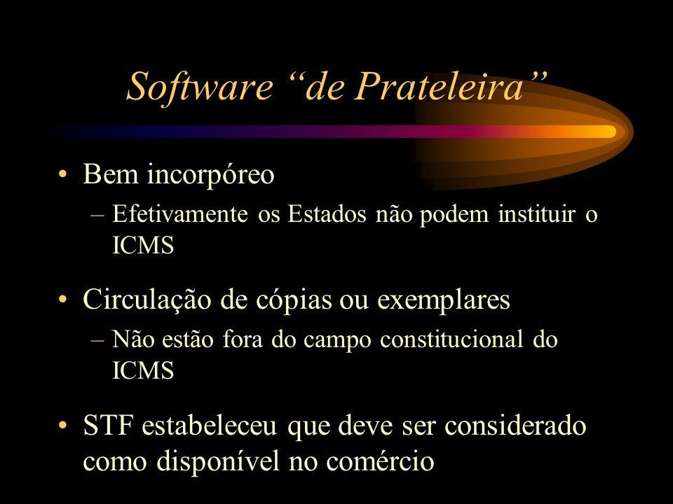 """Software """"de Prateleira"""" Bem incorpóreo –Efetivamente os Estados não podem instituir o ICMS Circulação de cópias ou exemplares –Não estão fora do camp"""