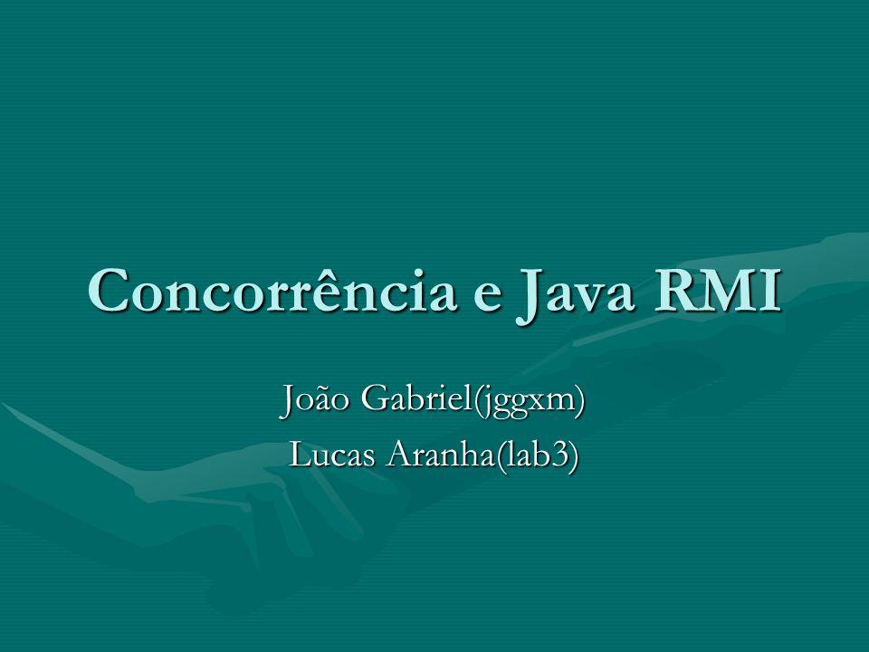 Concorrência e Java RMI João Gabriel(jggxm) Lucas Aranha(lab3)