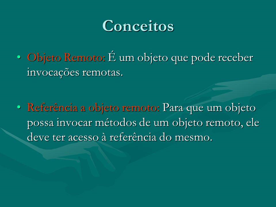 Conceitos(Continuação) Interface Remota: Todo objeto remoto possui uma interface que especifica quais dos métodos podem ser invocados remotamente.Interface Remota: Todo objeto remoto possui uma interface que especifica quais dos métodos podem ser invocados remotamente.