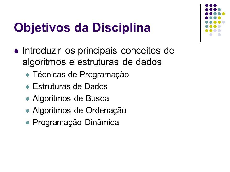 Objetivos da Disciplina Introduzir os principais conceitos de algoritmos e estruturas de dados Técnicas de Programação Estruturas de Dados Algoritmos