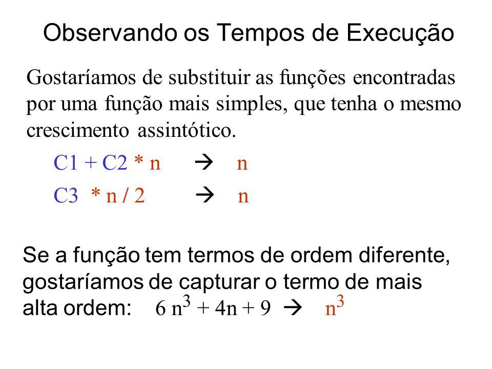 Observando os Tempos de Execução Gostaríamos de substituir as funções encontradas por uma função mais simples, que tenha o mesmo crescimento assintóti