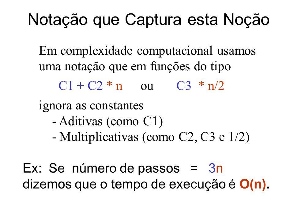 Notação que Captura esta Noção Em complexidade computacional usamos uma notação que em funções do tipo C1 + C2 * n ou C3 * n/2 ignora as constantes -