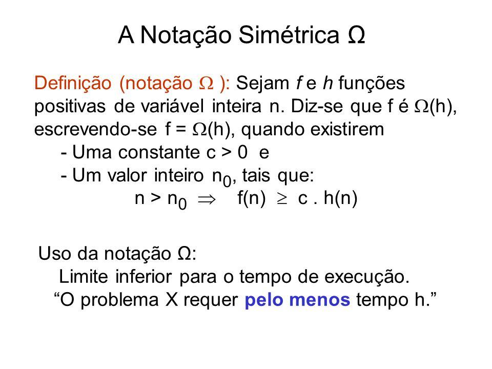 A Notação Simétrica Ω Definição (notação  ): Sejam f e h funções positivas de variável inteira n. Diz-se que f é  (h), escrevendo-se f =  (h), quan
