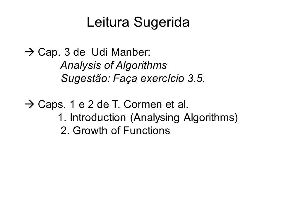 Leitura Sugerida  Cap. 3 de Udi Manber: Analysis of Algorithms Sugestão: Faça exercício 3.5.  Caps. 1 e 2 de T. Cormen et al. 1. Introduction (Analy
