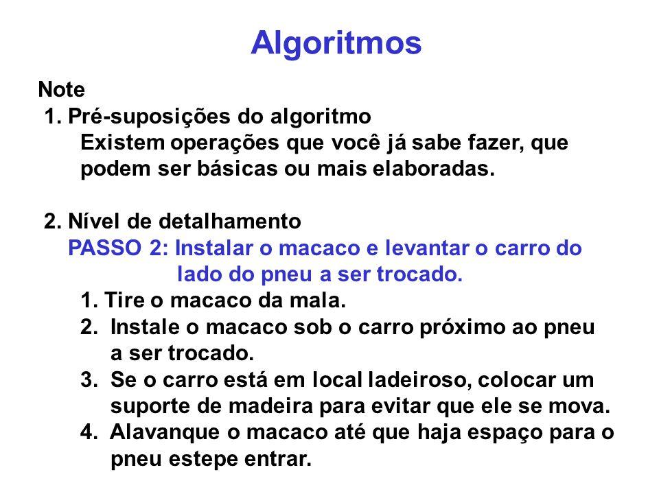 Algoritmos Note 1. Pré-suposições do algoritmo Existem operações que você já sabe fazer, que podem ser básicas ou mais elaboradas. 2. Nível de detalha