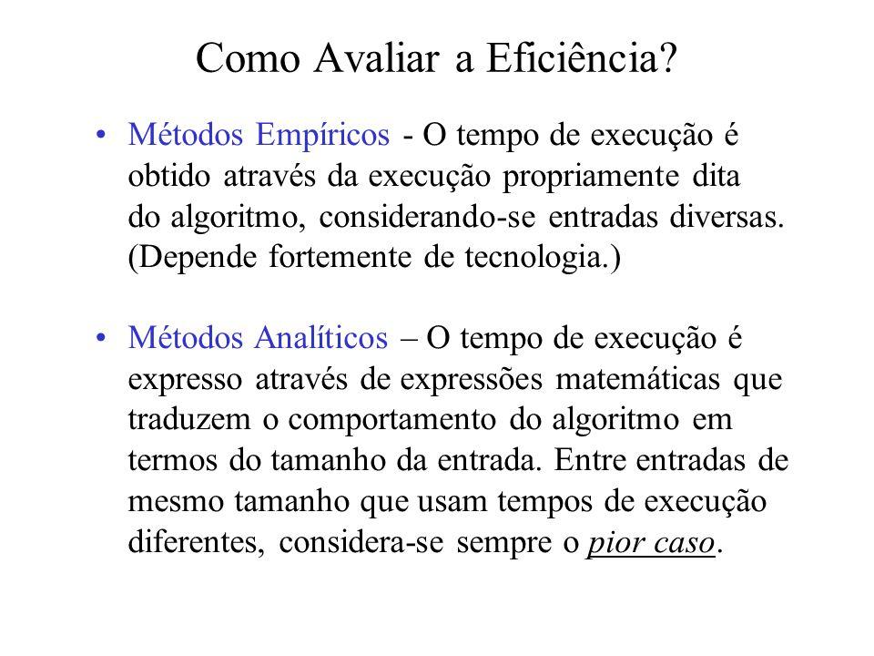 Como Avaliar a Eficiência? Métodos Empíricos - O tempo de execução é obtido através da execução propriamente dita do algoritmo, considerando-se entrad