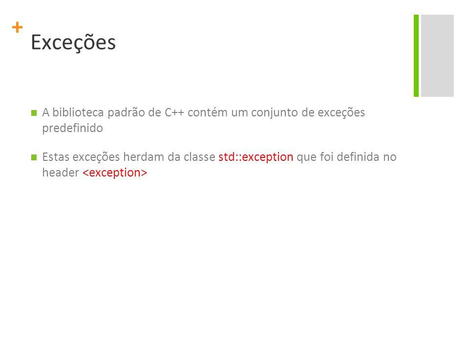 + Exceções A biblioteca padrão de C++ contém um conjunto de exceções predefinido Estas exceções herdam da classe std::exception que foi definida no he