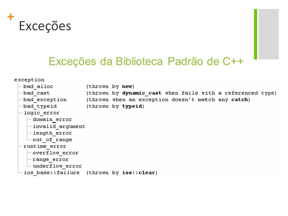 + Exceções Exceções da Biblioteca Padrão de C++