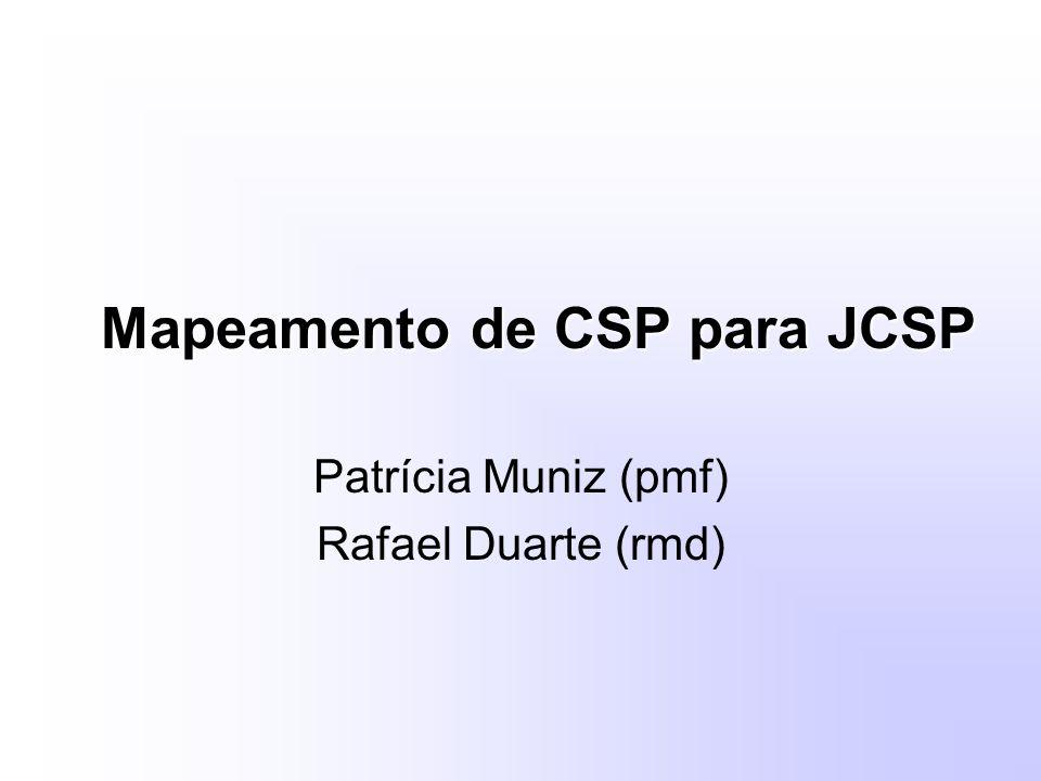 Mapeamento de CSP para JCSP Patrícia Muniz (pmf) Rafael Duarte (rmd)