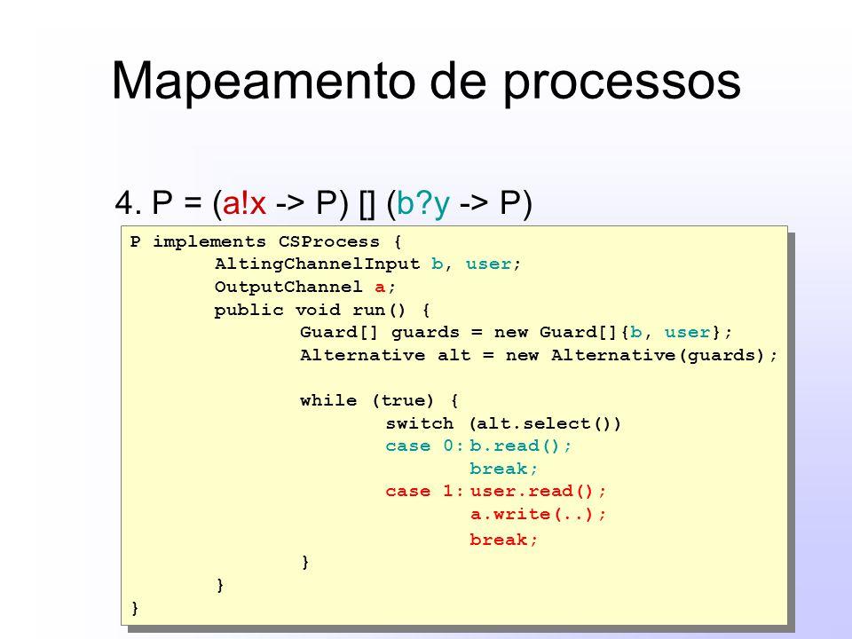 Mapeamento de processos 4. P = (a!x -> P) [] (b?y -> P) P implements CSProcess { AltingChannelInput b, user; OutputChannel a; public void run() { Guar