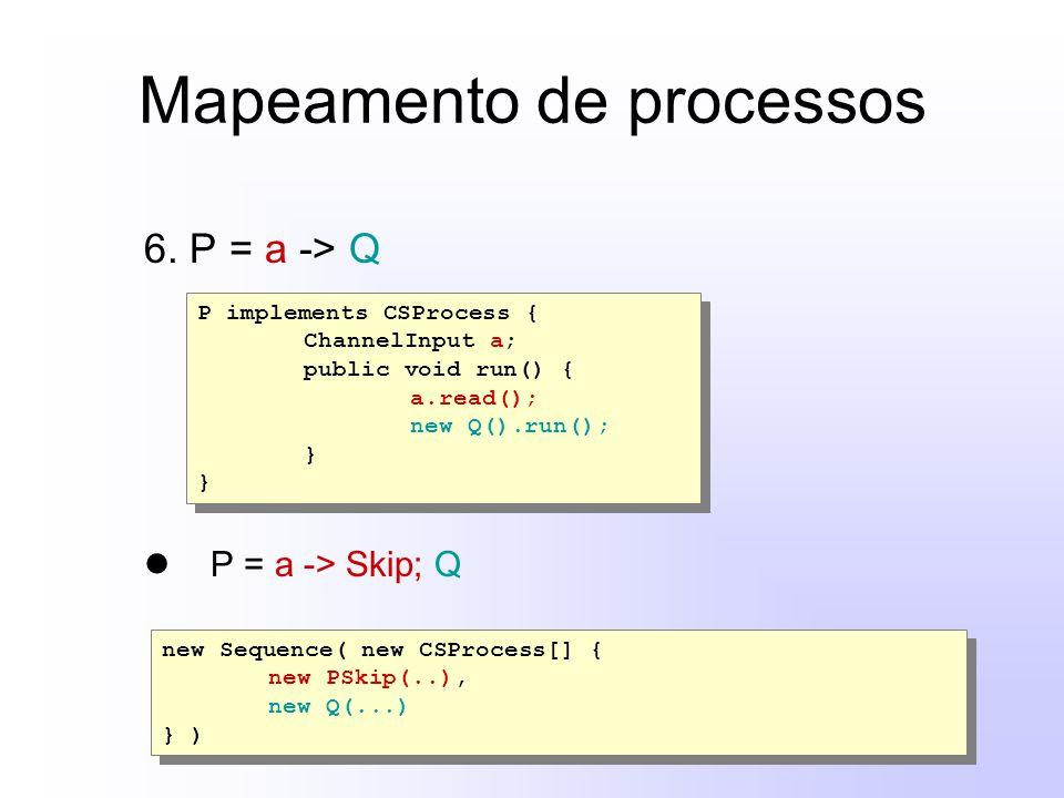Mapeamento de processos 6. P = a -> Q P = a -> Skip; Q P implements CSProcess { ChannelInput a; public void run() { a.read(); new Q().run(); } P imple