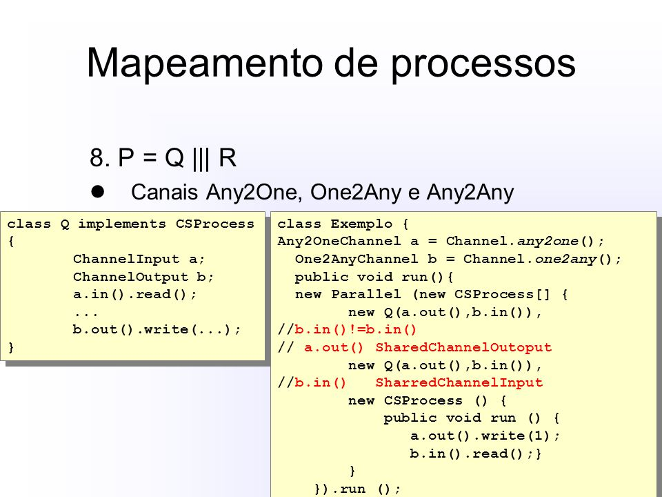 Mapeamento de processos 8. P = Q ||| R Canais Any2One, One2Any e Any2Any class Q implements CSProcess { ChannelInput a; ChannelOutput b; a.in().read()