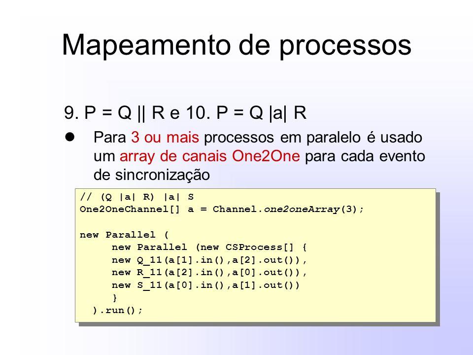 Mapeamento de processos 9. P = Q || R e 10. P = Q |a| R Para 3 ou mais processos em paralelo é usado um array de canais One2One para cada evento de si