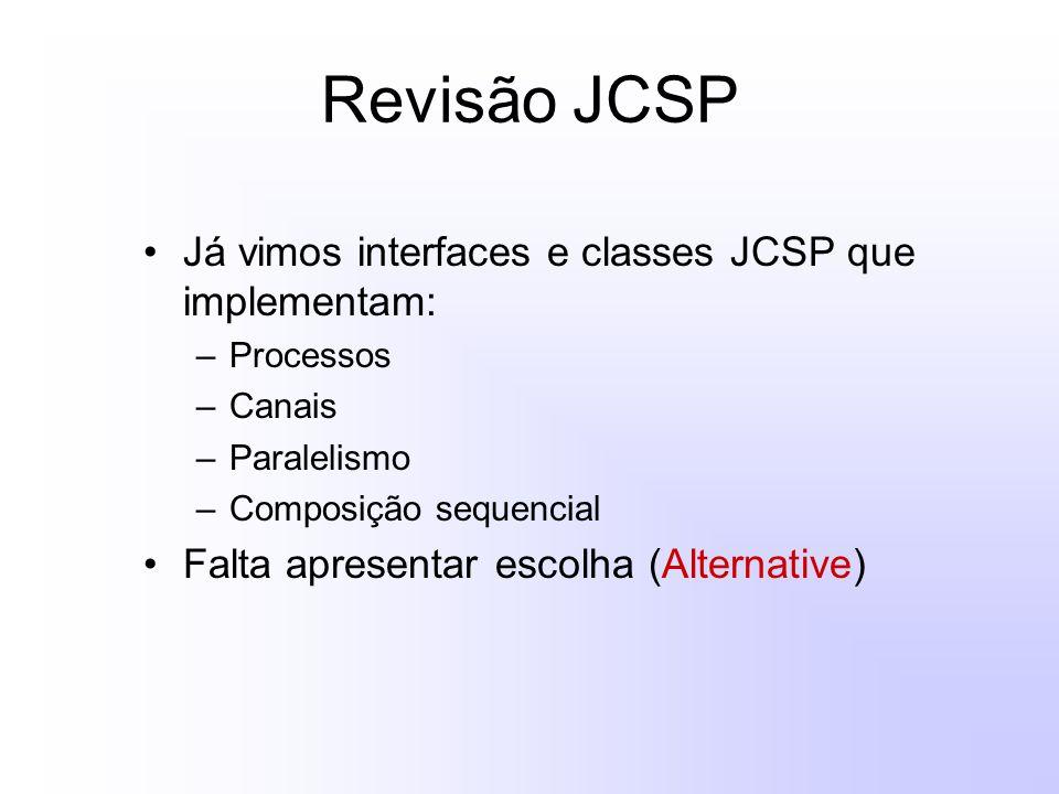 Revisão JCSP Já vimos interfaces e classes JCSP que implementam: –Processos –Canais –Paralelismo –Composição sequencial Falta apresentar escolha (Alternative)