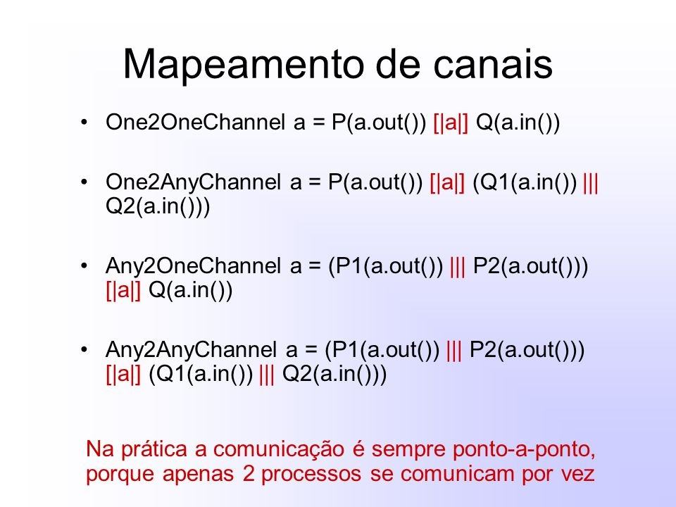 Mapeamento de canais One2OneChannel a = P(a.out()) [|a|] Q(a.in()) One2AnyChannel a = P(a.out()) [|a|] (Q1(a.in()) ||| Q2(a.in())) Any2OneChannel a =