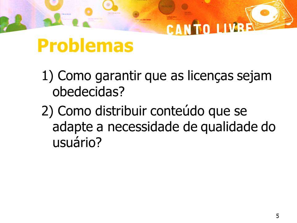 5 Problemas 1) Como garantir que as licenças sejam obedecidas.