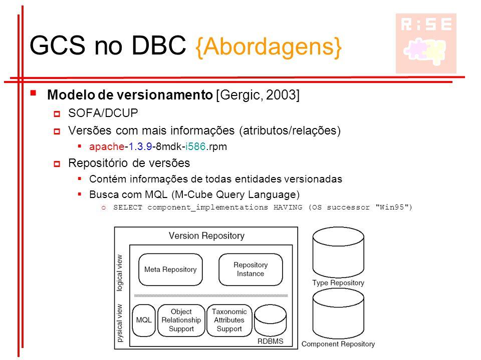 Reuse in Software Engineering Group GCS no DBC {Abordagens}  Modelo de versionamento [Gergic, 2003]  SOFA/DCUP  Versões com mais informações (atrib
