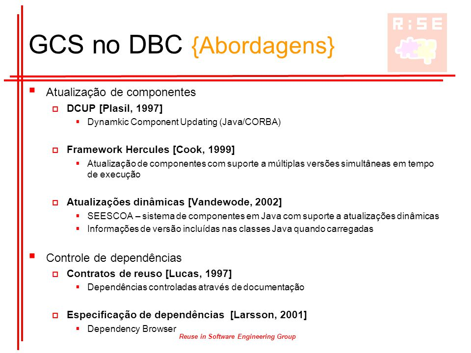 Reuse in Software Engineering Group GCS no DBC {Abordagens}  Atualização de componentes  DCUP [Plasil, 1997]  Dynamkic Component Updating (Java/COR