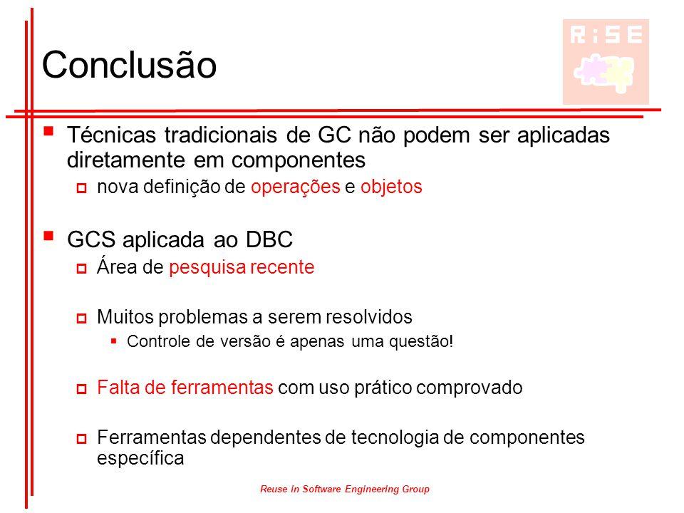 Reuse in Software Engineering Group Conclusão  Técnicas tradicionais de GC não podem ser aplicadas diretamente em componentes  nova definição de ope