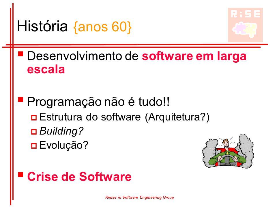 Reuse in Software Engineering Group História {anos 60}  Desenvolvimento de software em larga escala  Programação não é tudo!!  Estrutura do softwar