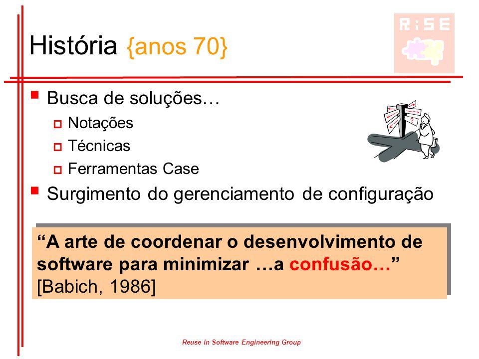 Reuse in Software Engineering Group História {anos 70}  Busca de soluções…  Notações  Técnicas  Ferramentas Case  Surgimento do gerenciamento de