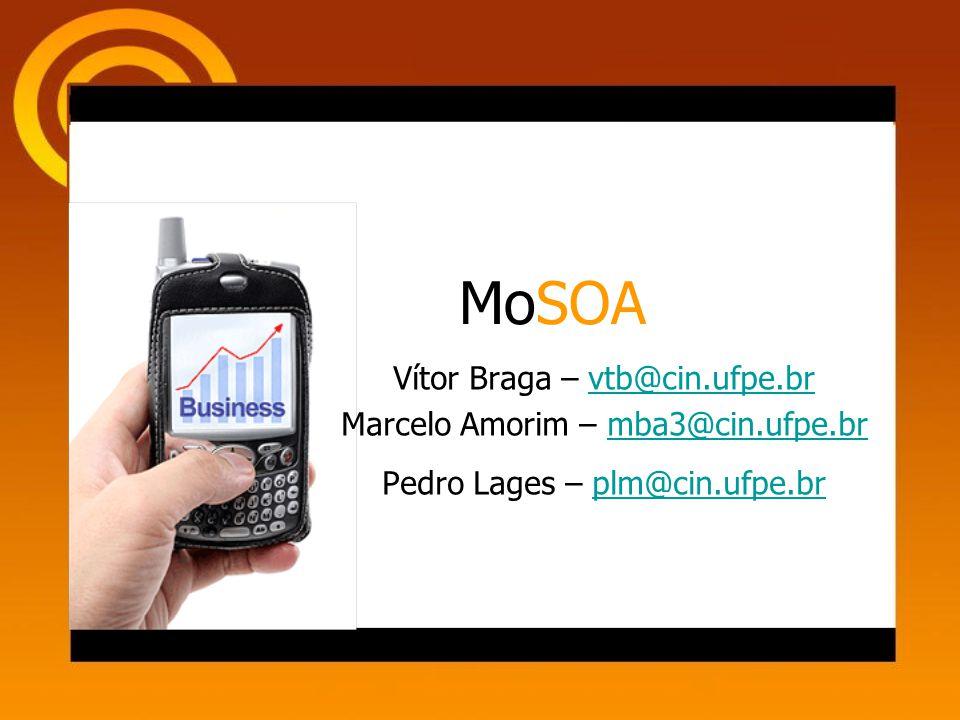 MoSOA Vítor Braga – vtb@cin.ufpe.brvtb@cin.ufpe.br Marcelo Amorim – mba3@cin.ufpe.brmba3@cin.ufpe.br Pedro Lages – plm@cin.ufpe.brplm@cin.ufpe.br