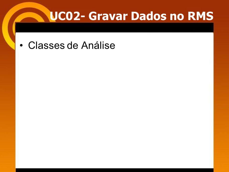 UC02- Gravar Dados no RMS Classes de Análise